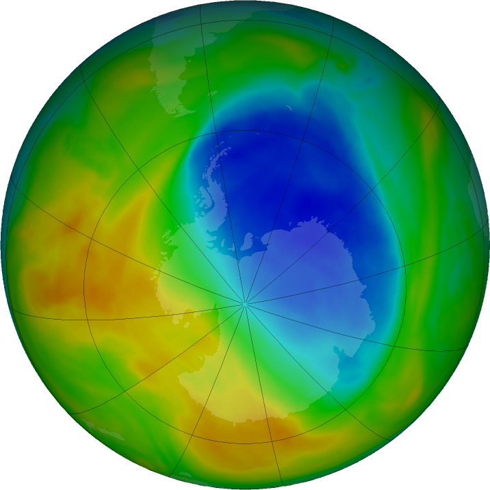 Antarctic ozone map for 01 November 2017